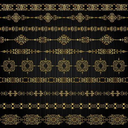 gilded: set of golden ornate border set for design Illustration