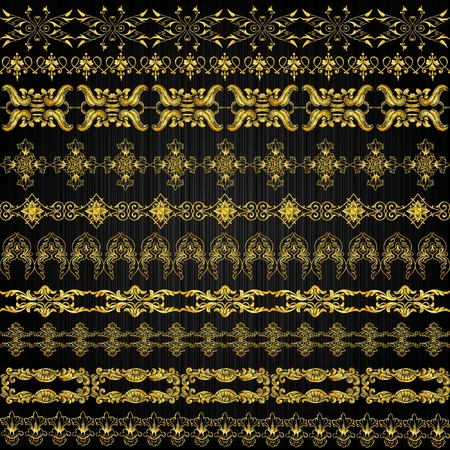 set of golden ornate border set for design Vector