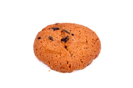 Single cookie on white background. Stock Photo