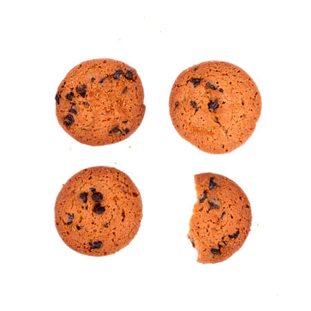 Chocolate cookies isolated white background.
