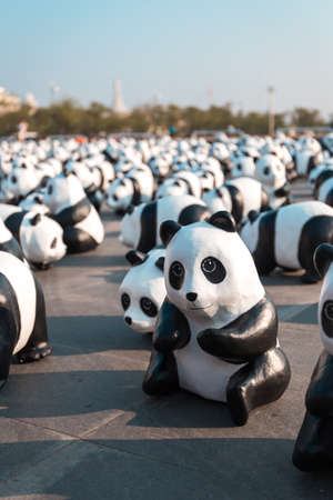March 4, 2016: Papier-mâché pandas by Paulo Grangeon set for public to see in 1,600 Panda+ campaign by WWF (World Wildlife Fund) to raise an awareness to conserve pandas, which near extinct, wildlife and environments with the same amount of 1,600 pandas