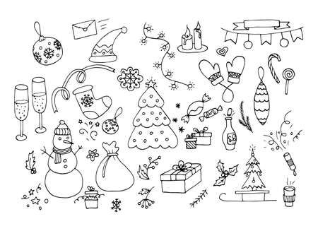 Christmas and new year, doodles. A set of holiday-themed elements.