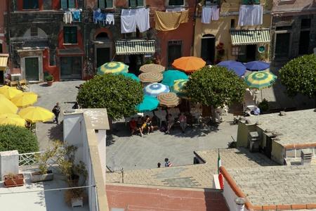 vernazza: Main square in Vernazza, Cinque Terre Stock Photo