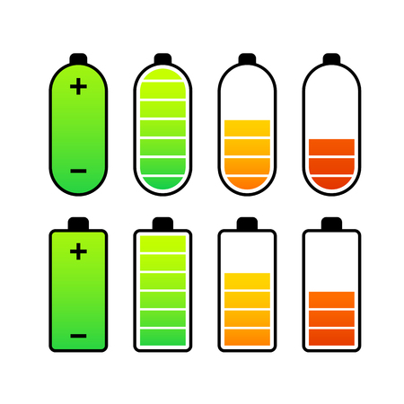 charge: Vector set of battery charge level indicators Illustration