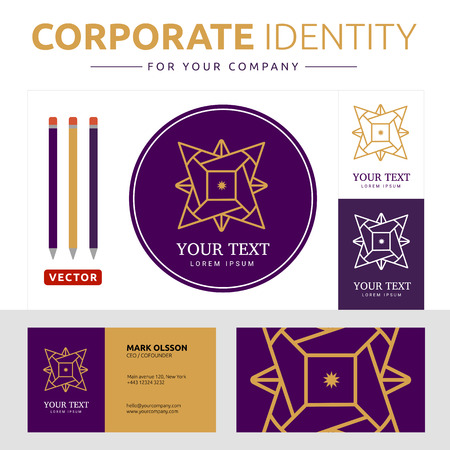 corporate identity template: Abstract  element with business card. Corporate identity template for your company Illustration
