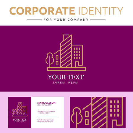 real business: Abstract house  element with business card. Corporate identity template for your company. Illustration