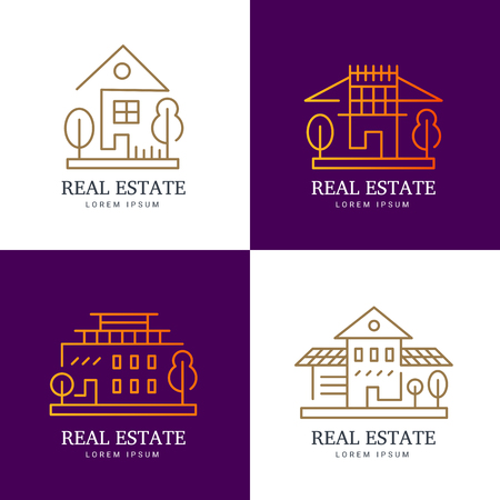your logo: Abstract house logo set. Vector template for your company.