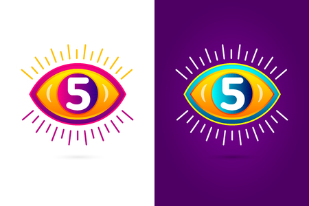 numbers icon: Numbers set five with eye icon. Vector eye care  template.