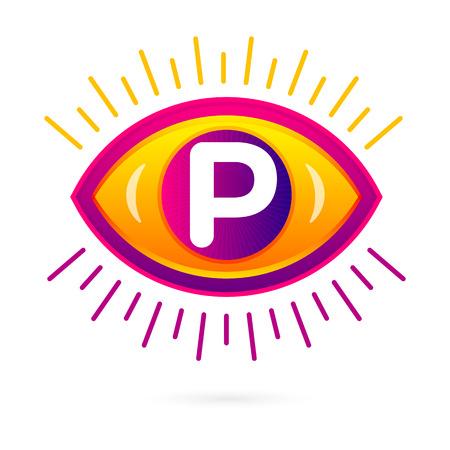 forme et sante: Lettre P avec l'icône d'oeil sur blanc. Vector oeil logo de soins modèle. Illustration