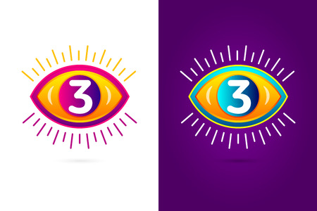 numbers icon: Numbers set three with eye icon. Vector eye care  template.