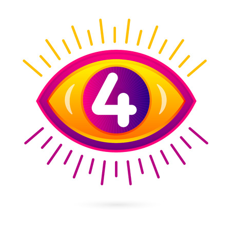 Number four with eye icon on white. Vector eye care  template.