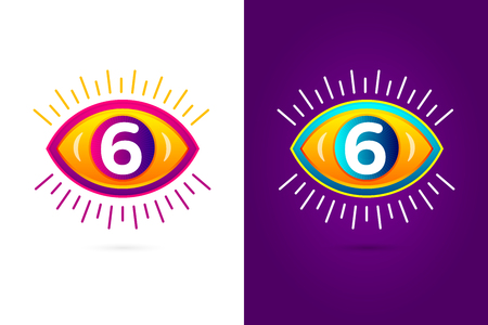 numbers icon: Numbers set six with eye icon. Vector eye care  template.