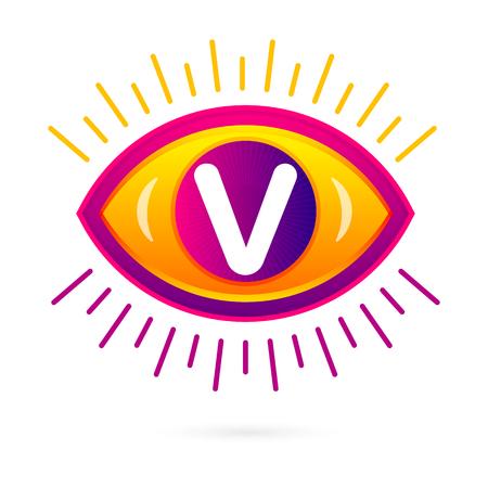 v shape: Letter V with eye icon on white. Vector eye care logo template.