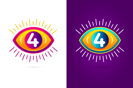 numbers icon: Numbers set four with eye icon. Vector eye care  template.