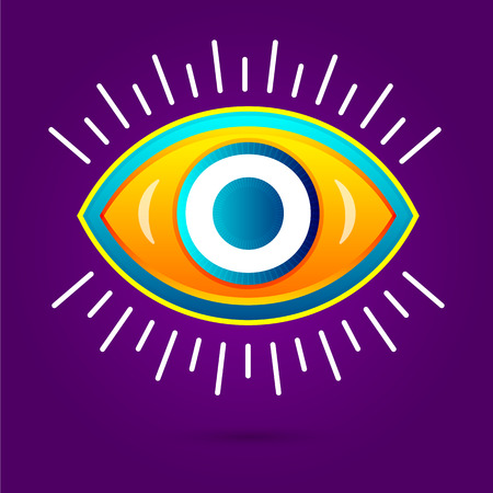 monte carlo: Letter with eye icon on white. Vector eye care  template.