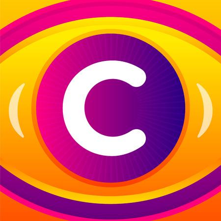 forme et sante: Lettre avec l'icône de l'oeil fond. Vector logo modèle.