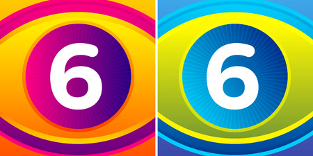 numbers icon: Numbers set with eye icon background. Vector eye care logo template. Illustration