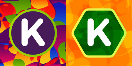 fun background: Set of vector letters in shapes on colorful background