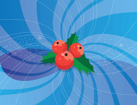 red holly over a blue christmas background Vector