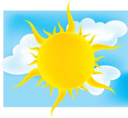 sun over a cloudy sky Ilustracja