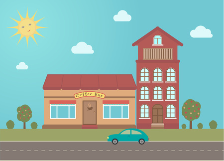 Coffee bar building in town on summer background. Vector illustration.