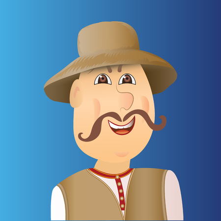People avatar cossack with forelock, mustache. Man in waistcoat, hat. Vector illustration. Illustration