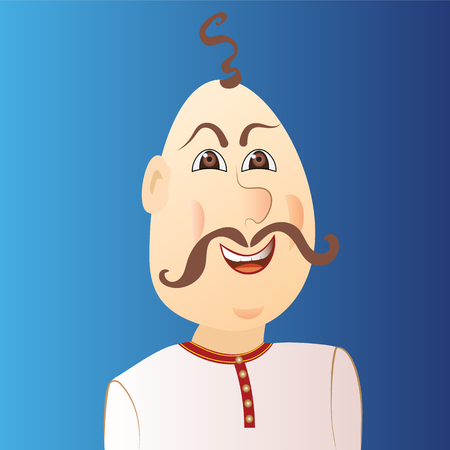 People avatar cossack with forelock, mustache. Vector illustration.