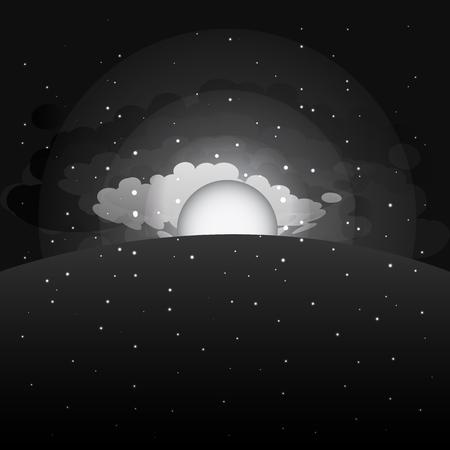 nigth: Morning sunrise sky background. Sunrise, ?louds, stars. Night sky. Vector illustration.