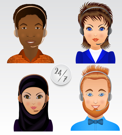 call centre girl: Set vector people avatars. Employees of call center support and help service.