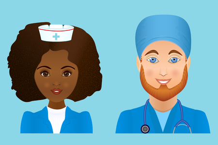 Medical clinic staff flat avatars of doctors, nurses, surgeon, assistant.  Hospital personnel multiracial faces. Illustration