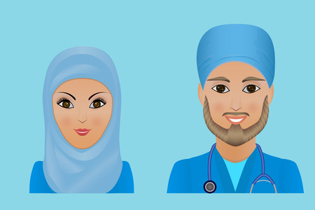 Medical clinic staff flat avatars of doctors, nurses, surgeon, assistant.  Hospital personnel multiracial faces. Stock Photo