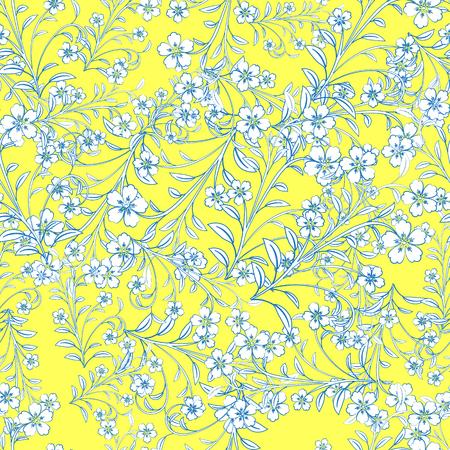 노란색 배경에 파란색 경로와 흰색 꽃입니다. 디자인, 벽지, 표지 초대, 직물 및 섬유. 일러스트