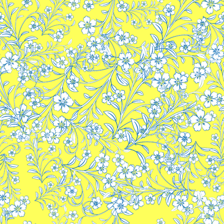 White flowers with blue path on yellow background.  For design, wallpaper, cover invitation, fabric and textile.