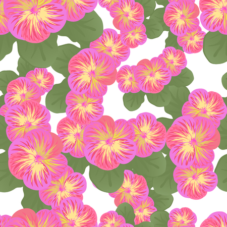 Pink flowers with green leaves vector seamless pattern Illustration