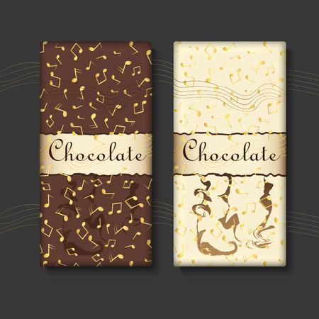 Vector set of chocolate bar package designs with gold musical notes and. Editable packaging template collection.