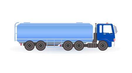 Blue fuel tanker. Vector illustration.