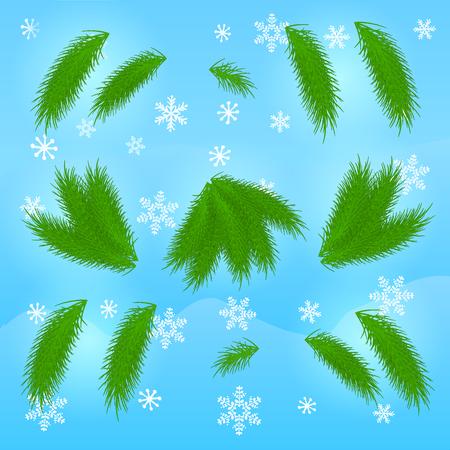 Zweige der Fichte auf Winterhintergrund. Elemente für Weihnachtsbaum machen. Vektor-illustration Standard-Bild - 88837667