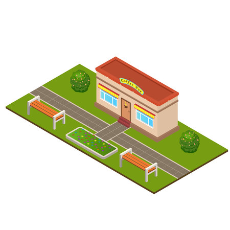 Isometric Coffee bar building at the summer city park concept. Trees, bushes, benches, beds, flower beds. Landscaping  composition. Vector Ilustração