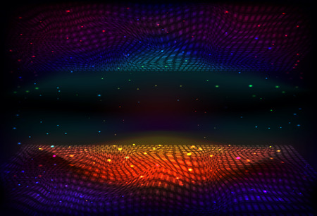Vector infinite space background. Matrix of glowing stars with illusion of depth and perspective.  Abstract wave energy, fantasy space. Futuristic universe. Sci fi energy flow on starry night backdrop.