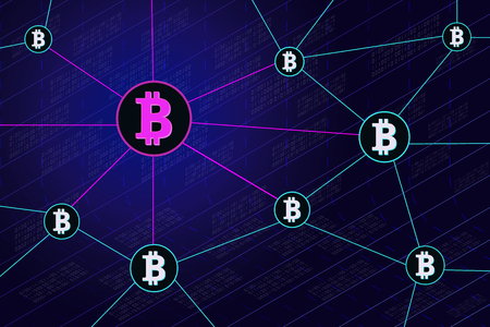 Blockchain network banner .Circle blocks connection with each other and shapes crypto chain. Blockchain cryptocurrencies global network technology e-commerce business management. Vector illustration.