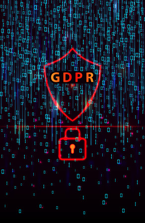 GDPR - General Data Protection Regulation and lock on  background of matrix code.Cryptographic analysis, hacking, decoding. Computer encryption technology. Separation of a digital signal streaming. 일러스트