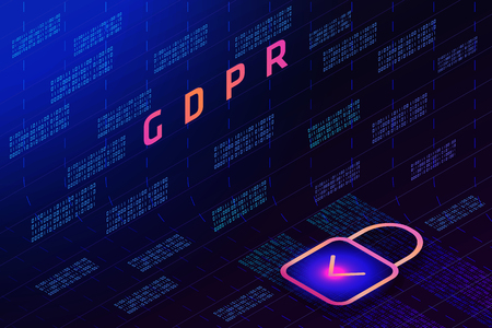 GDPR - General Data Protection Regulation and lock on  background of matrix code. Blue glowing data flow as binary numbers.  Computer code representation. Cryptographic analysis, hacking.  Vector. Illustration