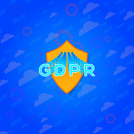 GDPR - General Data Protection Regulation. GDPR compliance symbol. Vector illustration on blue background.