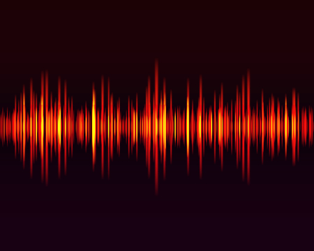 Vector digital music equalizer, audio waves design template audio signal visualization on dark background. Red equalizer of music, showing sound waves with music waves.  Vector illustration. Ilustração