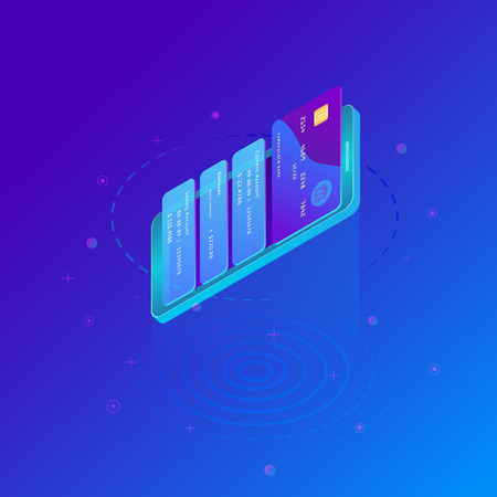Mobile payment concept, Smartphone with processing of mobile payments from credit card. Digital fingerprint identification on smartphone. Internet banking, online purchasing and transaction.  Vector illustration