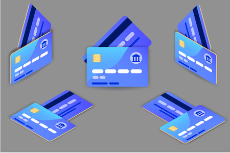 Set of template Credit Cards set. Blue color. Isometric projection front and back. Two sides. Vector