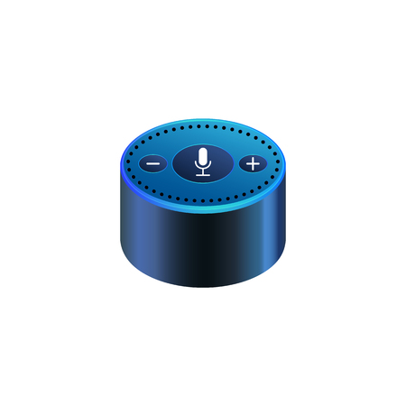 Smart speaker for smart home control with icons. Iot Voice control gadget of your house. Intelligent voice activated assistant. Isolated object vector
