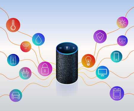 Smart speaker for smart home control. Icons on colorful gradient. Voice control gadget of your house. Intelligent voice activated assistant. Isolated object. Vector illustration 免版税图像 - 117008241