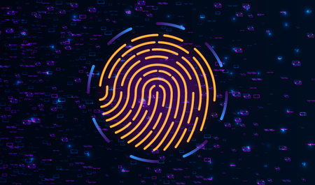 Fingerprint Scanning Identification System. Biometric Authorization and Business Security Concept. Scanning Identification System. Abstract digital conceptual technology security background with lock. Vector illustration.
