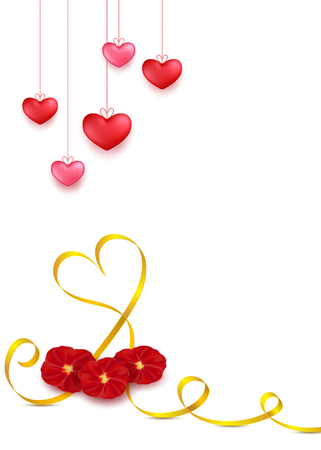 Valentines day greeting card design in 3d style on white background. Hanging red hearts with golden stripe and red rose petals flowers.Mother day gift banner for celebration decoration design. Illusztráció